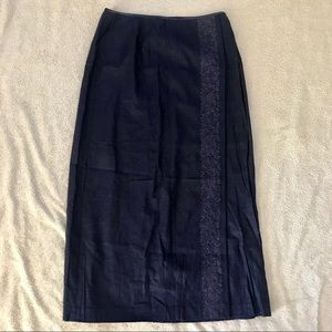 Navy Embroidered Wrap Style Long Skirt